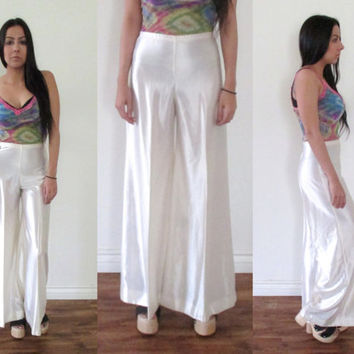 Vintage 70s PALAZZO HIgh Waist Woven Silky Wide Leg White Cream Pants // Bell Bottoms // Hippie Gypsy Boho Hipster // XS Extra Small