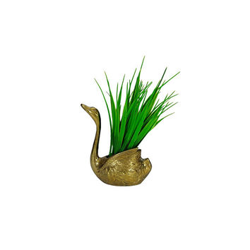Vintage Brass Swan Planter Decorative Indoor Flower Pot Boho Decor Air Plant Succulent Holder Cachepot Bird Home Accent Wedding Centerpiece