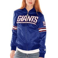 Womens New York Giants Royal Blue Starter Blitz Satin Jacket