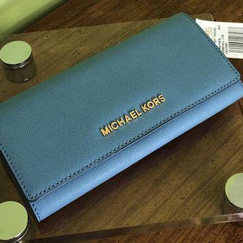Michael Kors Jet Set Travel CarryAll Sky Blue Saffiano Leather Flap Wallet Purse