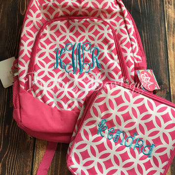 Monogrammed Backpack-- Book bag Monogrammed -- Lunch Box monogram-- Personalized bag-- Monogrammed Bookbag and Lunch Box-- SALE