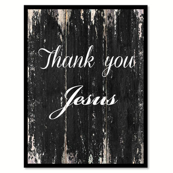Thank you Jesus Religious Quote Saying Canvas Print with Picture Frame Home Decor Wall Art
