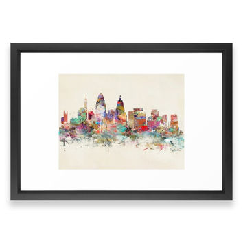 Society6 Cincinnati Ohio Skyli Framed Print