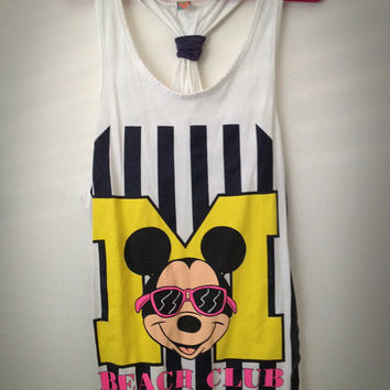 Vintage 80s Mickey Mouse Tank Top Dress