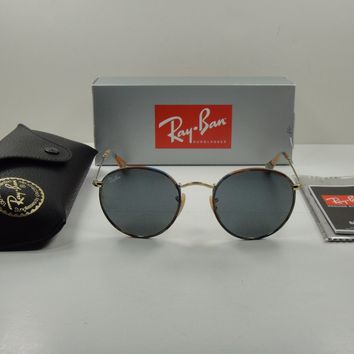 RAY-BAN ROUND CAMOUFLAGE SUNGLASSES RB3447JM 170/R5 GOLD FRAME/GRAY LENS 50MM