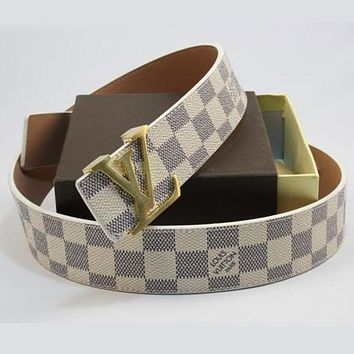 LV Popular Woman Men Plaid Print Smooth Buckle Belt Leather Belt I