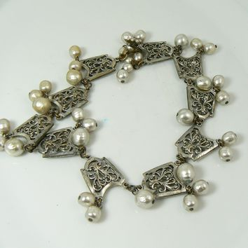 Miriam Haskell Baroque Pearl and Silver Filigree Festoon Necklace