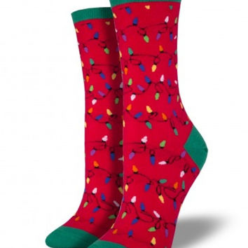 Socksmith Christmas Lights Red Socks