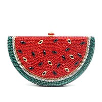 Milanblocks Rhinestone Fruit Watermelon Minaudiere  Box Evening Clutch Purse