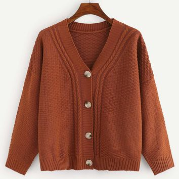 Plus Cable Knit Button Up Cardigan