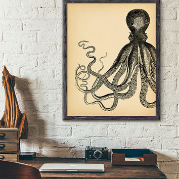 Vintage Octopus printable art, Nautical Home decor, Octopus Illustration, Beach print, Sea Life print, Beach House Decor, Ocean wall art