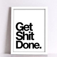 Get Shit Done Nordic Poster Wall Pictures For Living Room Wall Art Canvas Painting Posters And Prints Picture Unframed