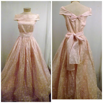 40s Handmade Pink Wedding Dress Sweeping Full Floor Length Size 4