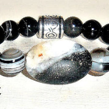 "Men's  Bracelet Genuine Onyx, and  Silver-Plated Copper bead ""I Am Able"" OOAK"