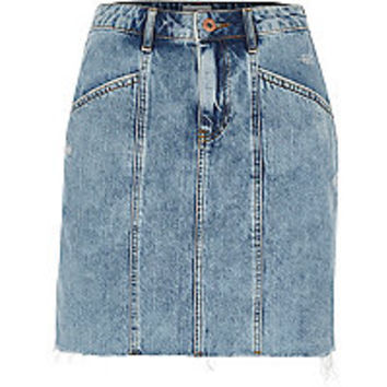 Blue panel high waisted denim skirt - mini skirts - skirts - women