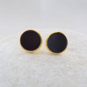 Gemstone Earrings, Stud Earrings, Genuine Black Onyx Flat Round Stud Earrings, Gold Plated 925 Sterling Silver Earring Jewelry - #6627