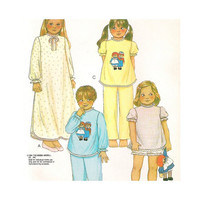 1980s Uncut Vintage  Sewing Pattern Girls Pajamas and Nightgown Size Large McCalls 7730