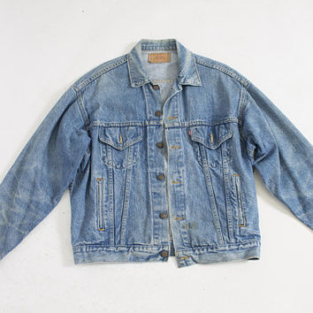 Vintage LEVI'S Denim Jacket - 1990s Blue Jean Jacket - Large 44