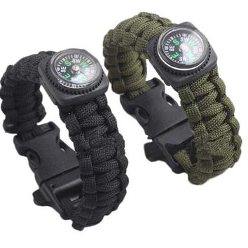 2pcs Stylish Outdoor Sports Survival Camping Travel Hiking Adventure navigation Self-rescue Parachute Cord Bracelets Compass