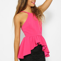 Tania Top - Hot Neon Pink Peplum Top