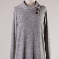 Soft Gray Cowl Neck Sweater with Buttons