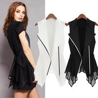 Sleeveless Asymmetric Hem Zipper Chiffon Vest Top