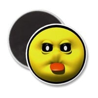 Yellow smiley sticking out tounge magnets from Zazzle.com