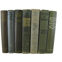 Green Brown Farmhouse Decorative Book Collection, S/7