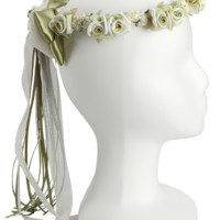 Sage Green Floral Crown Wreath Handmade with Silk Flowers & Back Satin Bows (Girls)