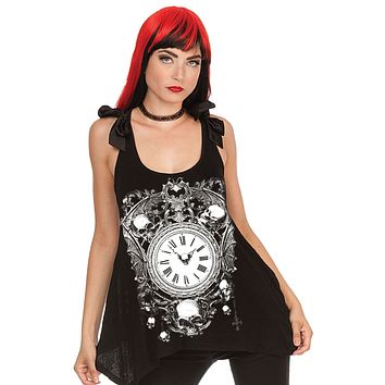Alchemy Gothic Skull & Clock Sheer Skull Lace Back w/ Bow Flare Tank Top