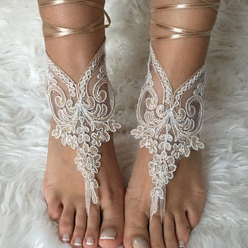 Champagne ivory frame lariat barefoot sandals, french lace sandals, wedding anklet, Beach wedding barefoot sandals, embroidered sandals