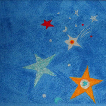 Vintage Cotton Fabric/SUPERSTAR Printed in England/Heavy Cotton Fabric/Stars Galaxy Design/Beautiful Blue Background/Multi Coloured Stars