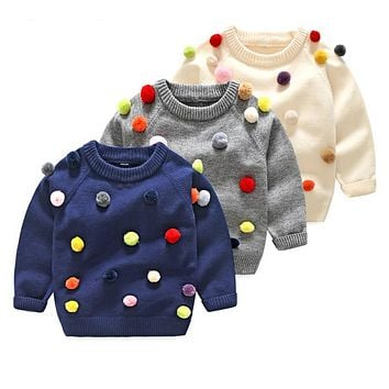 Boys Girls O-neck Sweater Kids Clothes Boys Sweaters Outerwear Warm Knitted Pullover Autumn Children's Sweater Coats