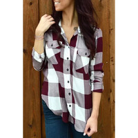Stylish Shirt Collar Long Sleeve Plaid Side Slit Women's Shirt
