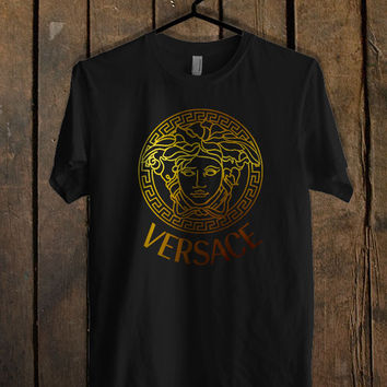 versace logo gold T Shirt Mens T Shirt and Womens T Shirt *