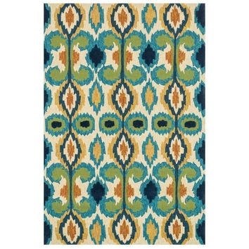 Capri Ikat Multi Color Outdoor Rug