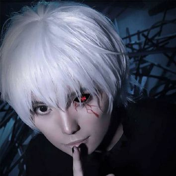 Kaneki Ken Cosplay Tokyo Ghoul Boy Japanese Anime Short Hair Men Costume accessories Costume Play Hair Silver Halloween