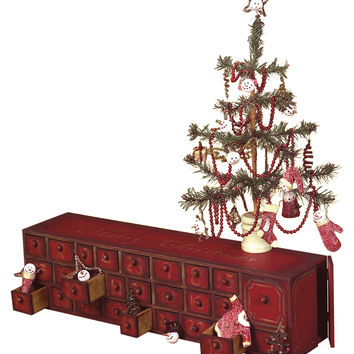 Christmas Advent Chest & Feather Tree