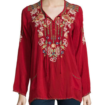 Carnation Long-Sleeve Embroidered Blouse, Petite, Size:
