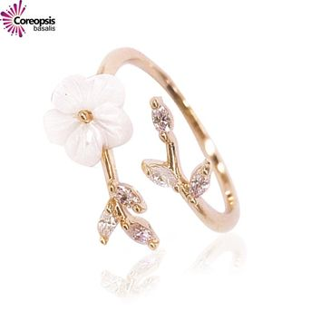 Fashion Delicate shell pearl flowers and crystal tree Leaves rings all-match rose gold popular accessories ring women