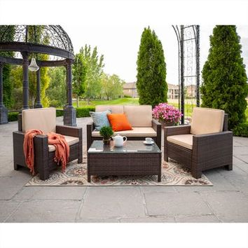 Brown 4-Piece Modern Patio Set