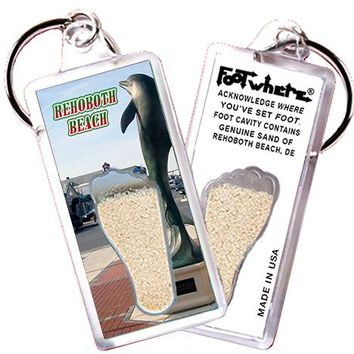 Rehoboth Beach, DE FootWhere® Keychain. Made in USA.