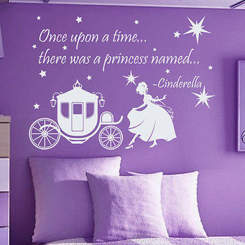 Quote Cinderella Wall Decals Princess Decal Nursery Girl Room Decor Vinyl MR360