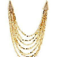 Gold Layered Metallic Beaded Necklace by Charlotte Russe
