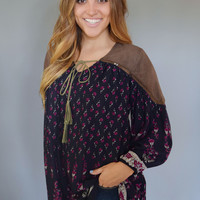 Faux Suede Embroidered Tunic