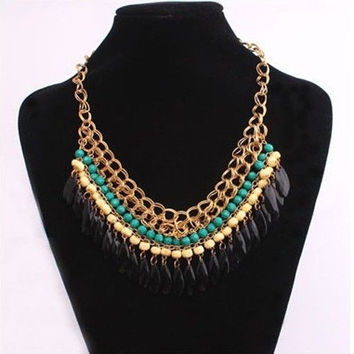 Pendant Crystal Choker Chunky Statement Bib Necklace