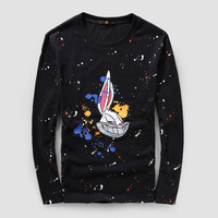 Stylish Rabbit Print Men Long Sleeve Couple T-shirts [6542269379]