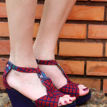 T Strap Wedge Heel Womens Sandals Vegan Ethnic Karen Hand Woven Purple And Red Textiles Boho Shoes