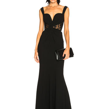 Alexander McQueen Sleeveless Bustier Gown in Black | FWRD