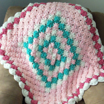 Pink and Teal Baby Afghan by SnugableTouches on Etsy